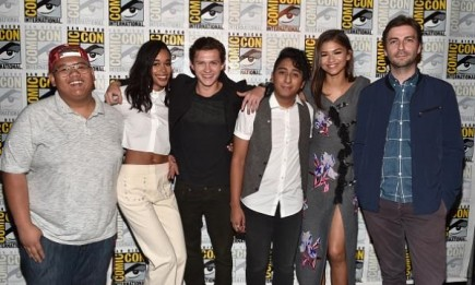 """Actors Jacob Batalon, Laura Harrier, Tom Holland, Tony Revolori, Zendaya and director Jon Watts from Marvel Studios' """"Spider-Man: Homecoming"""" attended the San Diego Comic-Con International 2016 Marvel Panel in Hall H on July 23 in San Diego, California."""