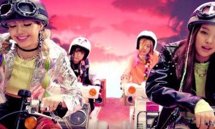 South Korean group Black Pink on the music video of their song 'BOOMBAYAH'.