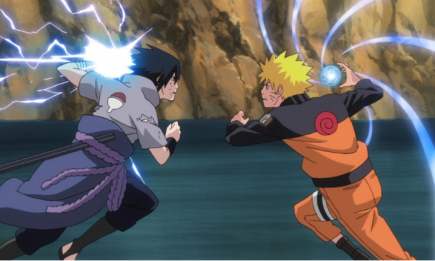 Naruto Shippuden cover art featuring Sasuke (left) and Naruto (right).