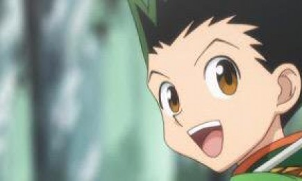 "Screen grab from the anime showing Gon Freecss, one of the main protagonists of ""Hunter X Hunter""."