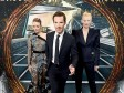 (L-R) Rachel McAdams, Benedict Cumberbatch and Tilda Swinton in front of the Doctor Strange inspired 3D Art at a fan screening.
