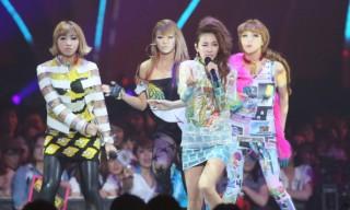2NE1 in attendance during the MTV Video Music Japan 2012.