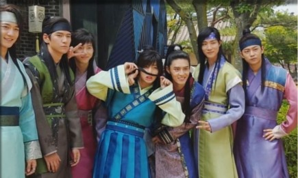 "Behind-the-scene photo of ""Hwarang"" cast members."