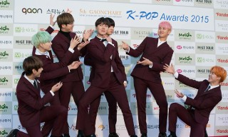 Boy band BTS attends the 5th Gaon Chart K-Pop Awards on February 17, 2016 in Seoul, South Korea.