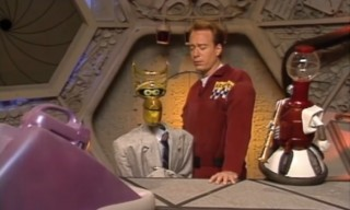 Joel and the Bots in an episode of 'Mystery Science Theater 3000'