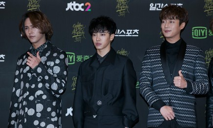Highlight members Son Dong Woon, Lee Gi Kwang,Yoon Doo Joon pose for the camera during the 30th Golden Disc Awards.