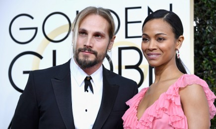 Zoe Saldana and husband Marco Perego attend the 74th Annual Golden Globe Awards at The Beverly Hilton Hotel on Jan. 8, 2017 in Beverly Hills, California.