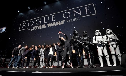Rogue One characters take a selfie on stage during the Rogue One Panel at the Star Wars Celebration 2016 at ExCel on July 15, 2016.
