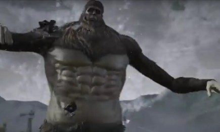 "Beast Titan as shown in the ""Attack on Titan"" video game launch trailer."