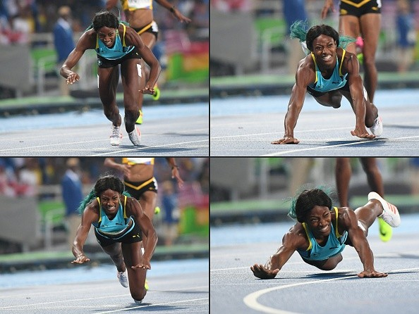 This combination of pictures  shows Bahama's Shauna Miller diving to cross the finish line to win gold medal the Women's 400m in Rio Olympic Games .